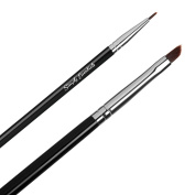 BEST LIQUID EYELINER MAKEUP BRUSH SET- Angled and Straight Professional Gel Brushes - Premium Quality at an Economical Price!