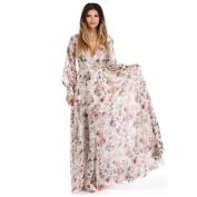 Women Dress, Neartime V Neck Long Sleeve Chiffon Floral Long Maxi Evening Party Dress