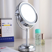 Ohcde Dheark 15cm Led Cosmetic Mirror With Light 1/3X Stainless Steel Makeup Mirror With Light Table Stand Mirror