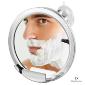 Jerrybox Fogless Shower Mirror with Built-in Razor Holder, Fog-Free Bathroom Shaving Mirror with Powerful Locking Suction Cup, 360°Rotating Adjustable Arm for Easy Viewing, Guaranteed Not to Fog 7X
