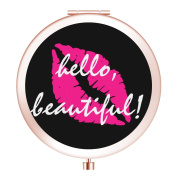 Cosmetic Mirror, Luxury Double Side Makeup Mirror, Metal Vanity Mirror with 1X/2X Magnifying - Pink Lipstick