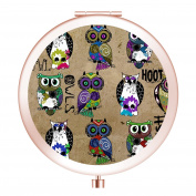 Travel Mirror, Customised Portable Round Mini Makeup Mirror with Double Sides 2x & 1x Magnification Good Gift for Girls - Rustic Owls Folk Art