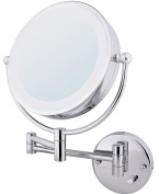 Ovente Wall Mount Make Up Mirror, Direct Hard Wire, 1x/7x Magnification, Chrome, 22cm