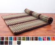 Leewadee Roll Up Thai Mattress XXL, 79x 59inches x 5.1cm , Kapok Fabric, Brown, Premium Double Stitched