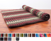 Leewadee Roll Up Thai Mattress XXL, 79x 59inches x 5.1cm , Kapok Fabric, Brown Red, Premium Double Stitched