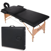 Homdox New Black Portable Massage Table Two-fold with Wooden Feet w/Free Carry Case