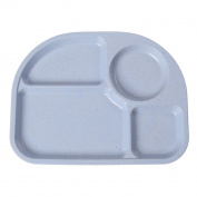 Freahap Kids Food Plate Environmental Food Tableware with 4 Divided Sections Blue