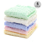 Baby Muslin Washcloths and Towels - ICEBLUEOR 100 % Natural Organic Cotton Soft Newborn Baby Facecloth Wipes,Baby Gauze,6 Layers Gauze Premium Reusable Wipes, for Sensitive Skin,Unisex,30cm x 30cm