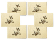 Bloeiende Bloemen Printed Canvas Table Mats Placemats 33cm x 48cm Set of 6