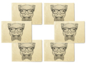 Portrait of Piggy -2 Printed Canvas Table Mats Placemats 33cm x 48cm Set of 6