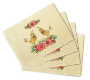 Birds With Flowers-2 Printed Canvas Table Mats Placemats 33cm x 48cm Set of 4