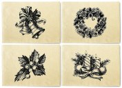 Merry Christmas Sketch Printed Canvas Table Mats Placemats 33cm x 48cm Set of 4