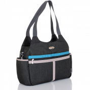 LCP Kids Baby Changing Bag PARIS BLACK Nappy Nappy shoulder belt - pushchair universal fixing hooks - waterproof mat