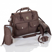 LCP Kids Baby Changing Bag RIO Brown Nappy Nappy - carrying handle - pushchair universal fix hook