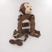Berhapy 2 in 1 Monkey Queen Toddler Backpack Harness with Safety Leash for Children's Walking