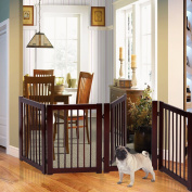 New MTN-G 80cm Configurable Folding Free Standing 4 Panel Wood Pet Dog Safety Fence w/ Gate