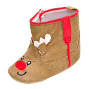 Newborn Infant Baby Boy Girl Christmas Boot Soft Sole Anti-slip Cotton Fabric Boot Shoes