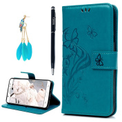 YOKIRIN Galaxy J7 LTE (2016) Case,Galaxy J710M Case,Embossed PU Leather Floral Butterfly TPU Inner Card Holder Stand Flip Magnetic Wallet Cover for Samsung Galaxy J7 2016 with Dust Plug & Pen,Blue