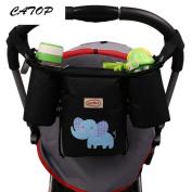 CATOP Premium & Deluxe Stroller Orgainzer | Universal Fit, Baby Stroller Pram Organiser Bag, Extra-Large Storage Space, Black