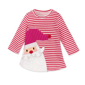 Toddler Kids Baby Girls Santa Striped Princess Mini Dress Christmas Outfits Clothes