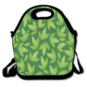 Floral Leaf Pattern Lunch Bag Adjustable Strap