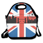 British Flag With London Cityscape Lunch Bag Adjustable Strap