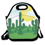 Cute Cactus Lunch Bag Adjustable Strap
