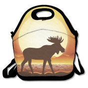 Moose Silhouette Sunset Mountain Lunch Bag Adjustable Strap