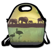Animals Flamingo Wildlife Lunch Bag Adjustable Strap