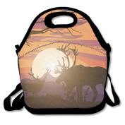 Caribou Sunset Deer Sunset Lunch Bag Adjustable Strap