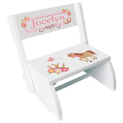 Personalised Ponies Prancing Childrens and Toddlers White folding stool
