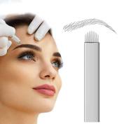 PFT 50pcs 14 Needle U Shaped Permanent Makeup Needle Manual Eyebrow Tattoo Microblade 14 Needle U Shaped
