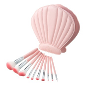 Makeup Brushes, USpicy 10 Pieces Professional Makeup Brush Set with Seashell Shaped PU Leather Case