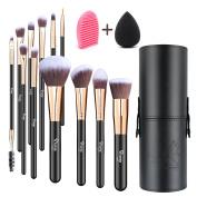 Qivange 12pcs Makeup Brushes with Holder, Vegan Brush Set + Blending Sponge & Makeup Brush Cleaner