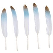 WAKEACE 20pcs/pieces Goose Feather Simulation Gold 4-6 Inches / 10-15 Cm In Bulk for Craft Party Decoration DIY wedding Goose Feathers