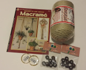 Macrame kit bundle with Craft Cord, Wooden Beads, Rings, and Project Book for plant hangers and wall hangings