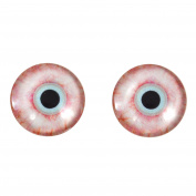20mm Bloodshot Zombie Glass Eyes Fantasy Taxidermy Art Doll Making or Jewellery Crafts Set of 2