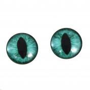 20mm Teal Cat Glass Eyes Fantasy Taxidermy Art Doll Making or Jewellery Crafts Set of 2