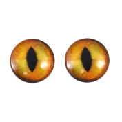 20mm Creamy Orange Cat Glass Eyes Fantasy Taxidermy Art Doll Making or Jewellery Crafts Set of 2