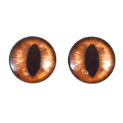 20mm Amber Cat Glass Eyes Fantasy Taxidermy Art Doll Making or Jewellery Crafts Set of 2