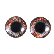 20mm Red and Black Round Glass Eyes Fantasy Taxidermy Art Doll Making or Jewellery Crafts Set of 2
