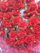 100pcs Miniature Mulberry Paper Rose Flower Cards Favours Crafts Embellishment