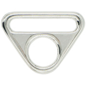 """Bluemoona 6 Pcs - 1"""" 25mm Metal Adjuster Triangle Ring with Bar Swivel Clip D Dee Buckle Nickel"""