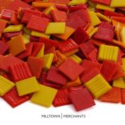 Milltown Merchants™ 3/4 Inch (20mm) Red and Orange Venetian Mosaic Tile - Bulk Fire Blend Mosaic Tiles - 1.4kg (1420ml) Tile Assortment For Backsplash, Murals, and Mosaics