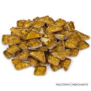 Milltown Merchants™ Light Brown Glitter Mosaic Tile Pieces - Bulk Mocha Sparkle Mosaic Tiles - 0.5kg (470ml) Shimmer Tile Assortment For Backsplash, Stepping Stones, and Mosaics