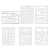 OPount 6 Pieces 31.4 Mil Bullet Journal Stencil Set Planner Stencil, Six Unique Designs Journal Stencils for Journaling, Scrapbooking, Cards and Art Projects