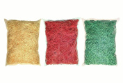 3 x 100g Paper Shred (Yellow, Red, Green), Decoration Accessory