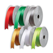 Jillson Roberts 6 Spool-Count 1.6cm x 3m Double Faced Satin Ribbon Christmas Assortment, Red/Green/Gold/Silver/White/Lime