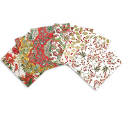 Jillson Roberts 24 Sheet-Count Christmas Printed Tissue Paper in Assorted Designs, Holiday Florals