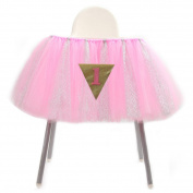 HOTER Baby 1st Birthday Party Decoration Glitter Tulle Tutu Skirt for High Chair with 1 Triangle Flag,5 Colours